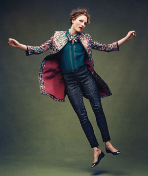 Model wearing silk brocade jacket