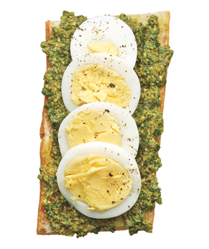 Pesto and Egg Open-Face Sandwich