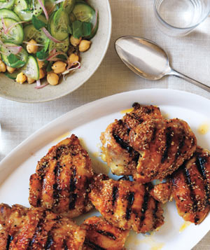 Spiced Chicken With Chickpea and Cucumber Salad