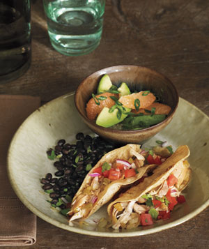 Chicken Tacos With Avocado and Grapefruit Salad