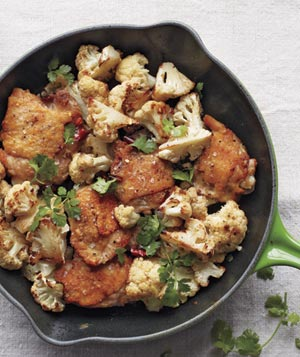 Crispy Chicken Thighs With Cauliflower and Cilantro