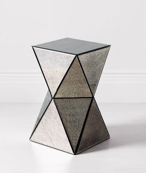Great Faceted Mirror Side Table