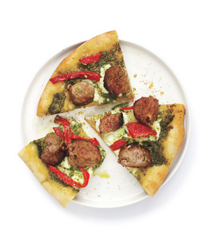 Meatball Pizza With Pesto