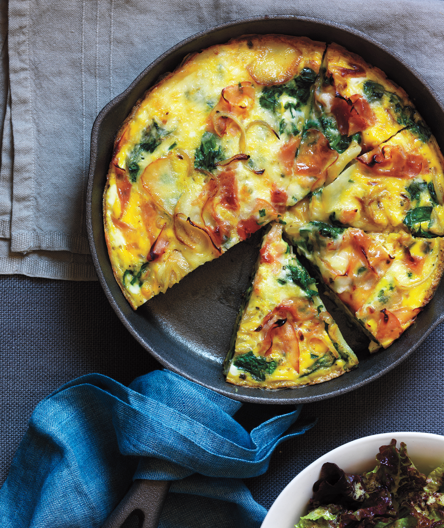 Potato, Ham, and Spinach Frittata