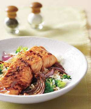 Glazed Salmon With Broccoli Rice
