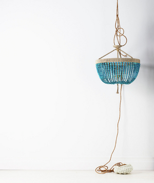 Turquoise three-arm chandelier