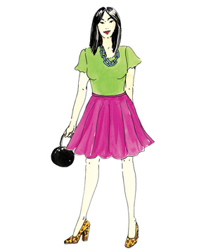 Illustration of a woman wearing a very bright outfit