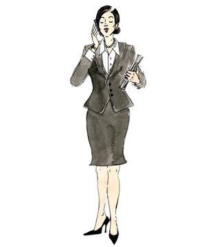 Illustration of a woman wearing a conservative suit