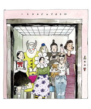 Illustration of strangely dressed people in an elevator