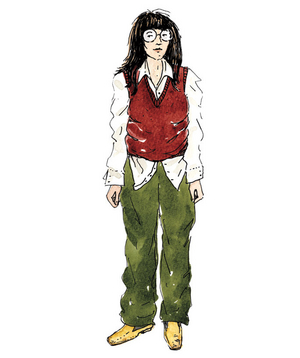 Illustration of a woman wearing chinos and a vest