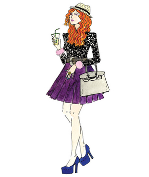 Illustration of a woman wearing trendy clothing