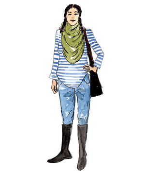 Illustration of a woman wearing jeans, boots, and a scarf
