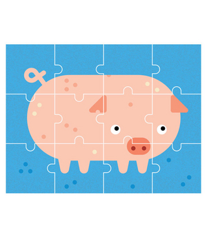 Illustration of a piggy puzzle