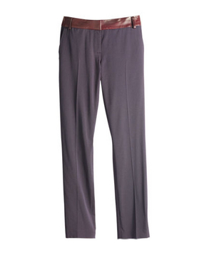 Cabe Wool-Blend Cropped Pants with Leather Trim