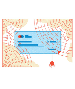 Illustration of a personal check and spiderwebs