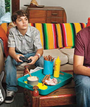 Amy Gray's sons playing video games
