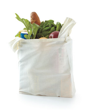 A reusable grocery bag filled with food
