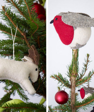 Bird and deer ornaments