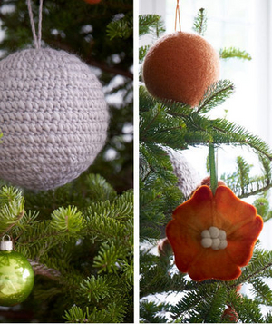 Orange and round purple ornaments