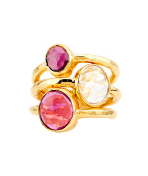 Robindira Unsworth 22k Gold Vermeil Stackable Pink Garnet Ring Set