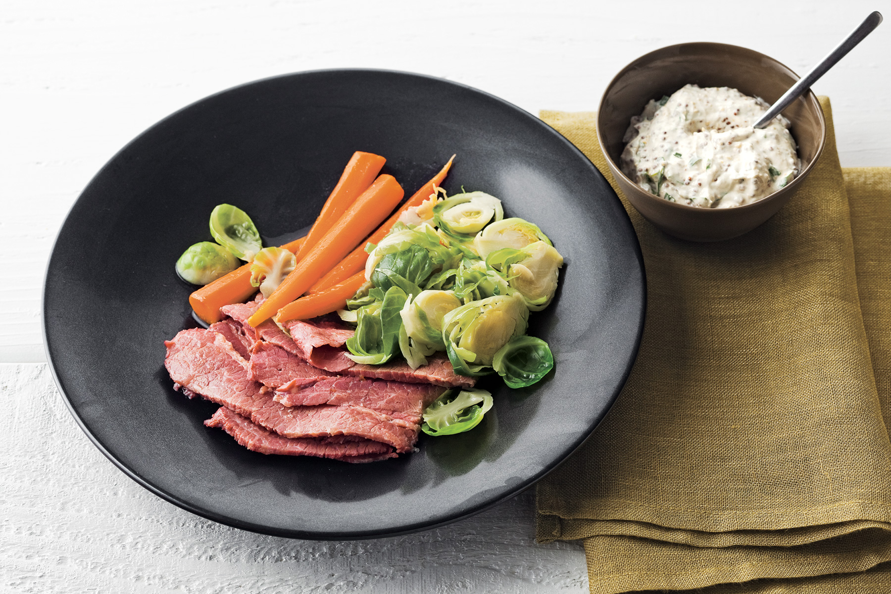 Ale-Braised Corned Beef, Brussels Sprouts, and Carrots