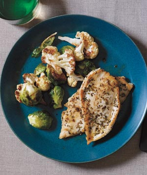 Herbed Chicken Cutlets With Roasted Winter Vegetables