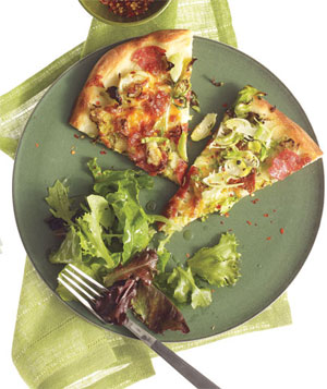 Salami and Brussels Sprouts Pizza