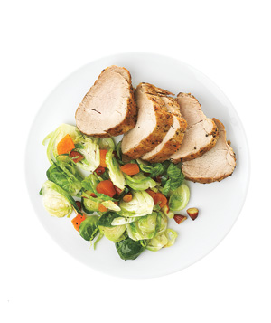 Roasted Pork With Brussels Sprouts and Apricots