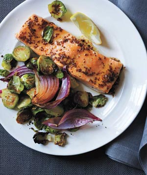 Maple-Glazed Salmon With Roasted Brussels Sprouts