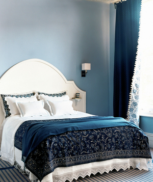 Good Blue And Cream Colored Bedroom