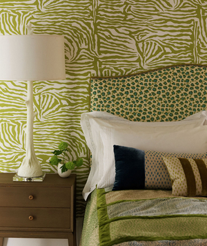 Exotic green animal printed bedroom