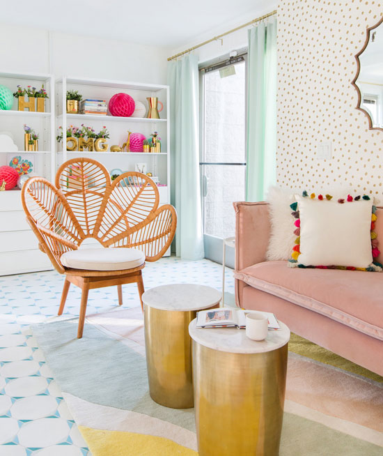 Pop Of Pastel. Textured White Room