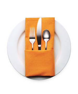 Folded napkin with silverware