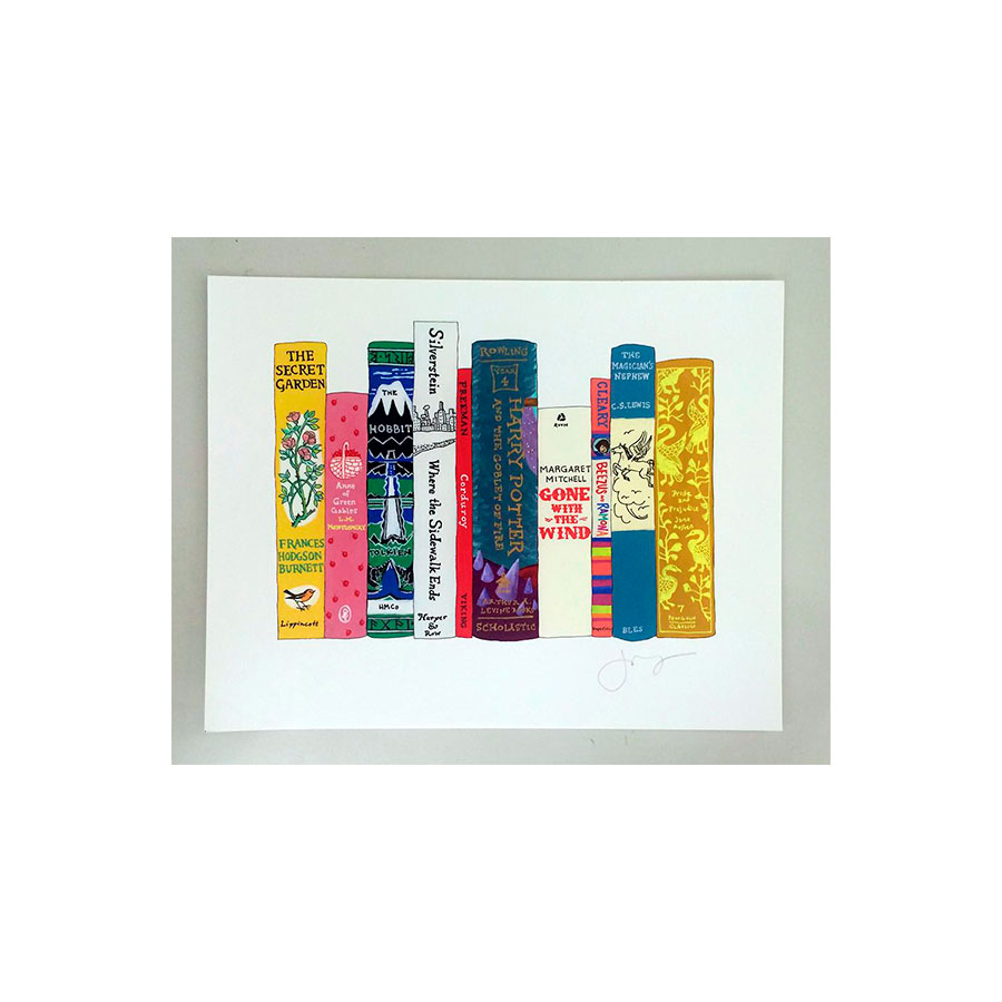 framed print with colorful book illustrations