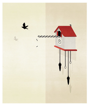 Illustration of a bird flying out of a house shaped clock