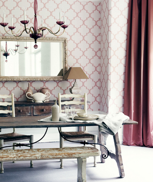 Floor to ceiling wallpaper and floor length curtains