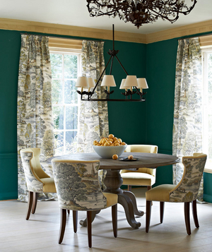 Green And Toile Dining Room