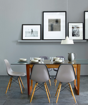Grey Photo Ledge In A Grey Dining Room
