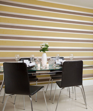 Metallic striped wall