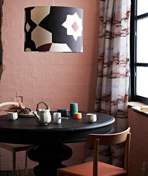 Painted Exposed Brick Wall In Breakfast Nook