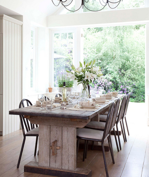 Long wooden farm table