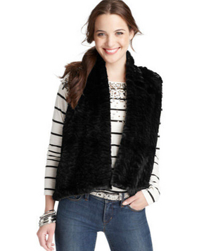 Loft Geometric Knit Back Faux Fur Vest