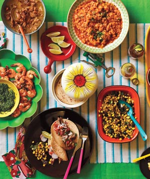 Taco party table spread