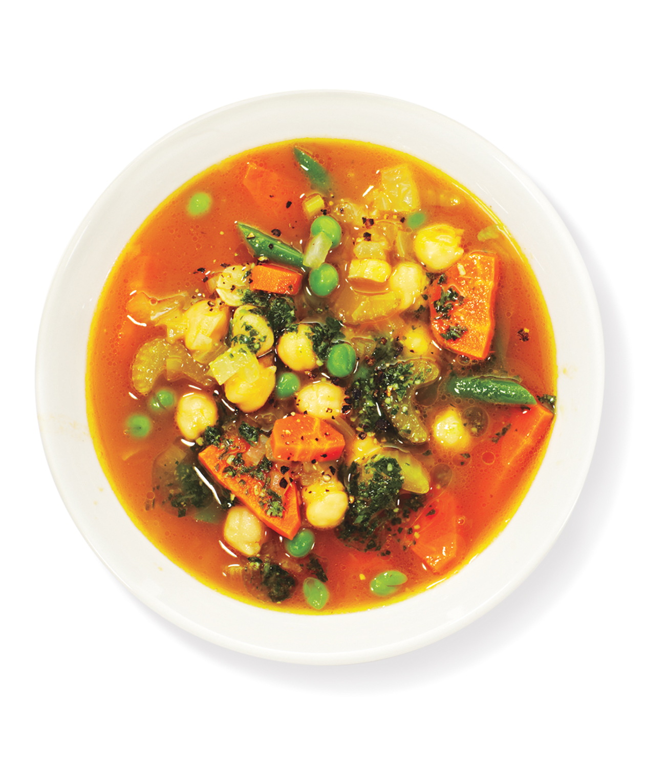 Chickpea, Vegetable, and Pesto Soup