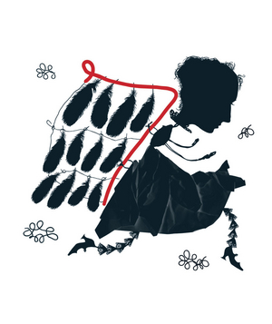 Illustration of a woman with feather wings