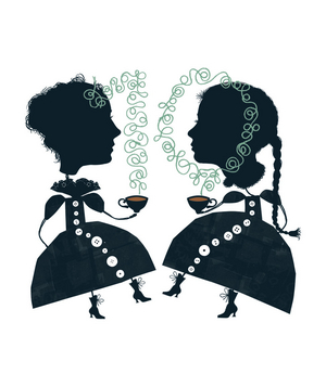 Illustration of two women having coffee
