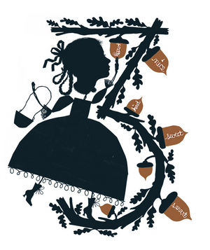 Illustration of acorns and a woman in a big dress