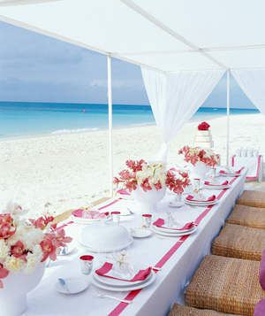 Small beach wedding reception