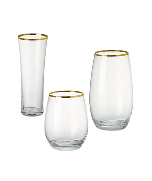 Gold-Rimmed Stemless Glassware Set