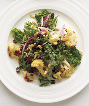 Kale and Roasted Cauliflower Salad With Tahini Dressing